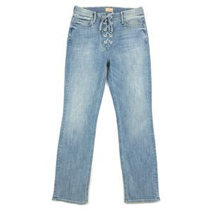 Mother Jeans Lace Up Dazzler Ankle Stretch Denim